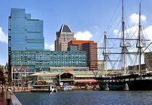 Baltimore inner harbor with ship