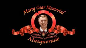 Marty Gear Memorial Masquerade logo - MGM movie style