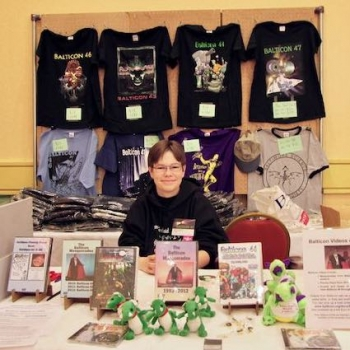 Balticon Swag: T-shirts, DVDs, stuffed dragons