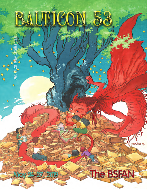 Balticon 53 BSFAN cover (dragon, book hoard, tea party with people, tree)